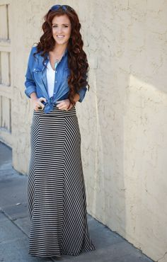 Statement necklace + white tank + chambray knotted + striped maxi