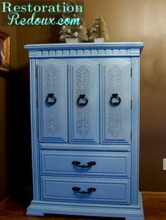 Blue chalky painted distressed nursery armoire      http://www.restorationredoux.com/?p=1444