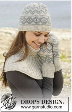 "Dreamin' Again - Knitted DROPS hat, mittens and neck warmer with Norwegian pattern in ""Nepal"". - Free pattern by DROPS Design Knitted Mittens Pattern, Crochet Mittens, Knit Or Crochet, Knitting Patterns Free, Free Knitting, Knitted Hats, Crochet Hats, Free Pattern, Drops Design"