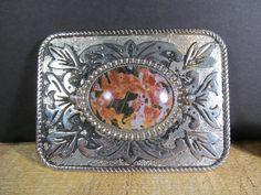 Vintage Southwestern Fashion Belt Buckle Solid Metal with Stone Like Emblem by TheStorageChest on Etsy