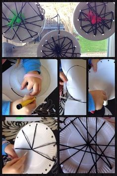 """Sewing simple spider webs at Cathy's Childminding ("""",)"""