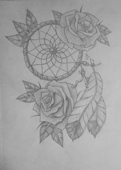 Dream Catcher with Rose Drawing   Dream Catcher With Roses by LisaKat98 on…