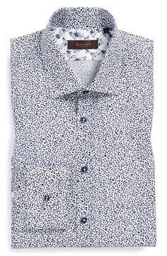 Men's Sand Trim Fit Floral Dress Shirt