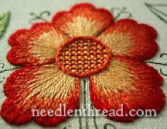 Satin stitch :: Lovely shaded flower. From Mary Corbet's blog.