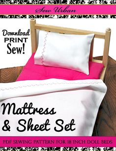 Mattress and Sheet Set 18 inch Dolls PDF Pattern Download | Pixie Faire