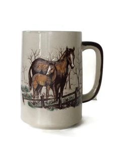 Vintage Otagiri Horse Coffee cup, Equine Equestrian 12 Oz. Mug Japan Mare Foal Horse Lover Decorative Collectible  Housewares by colonialcrafts on Etsy