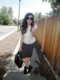 Oasis Clothing, leather vest, striped skirt, purple bag, sneaker wedges. It's on blog!