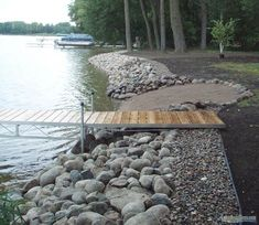 Losing your shoreline to erosion? We build the toughest riprap shorelines on earth. See photos of our work. House Landscape, Beach Landscape, Landscape Design, Lake Dock, Lake Beach, Lakeside Beach, Chalet Canada, Lake Landscaping, Landscaping Ideas