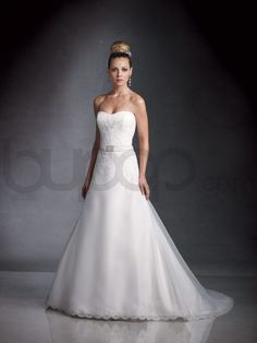 A-line Organza Alencon Lace Bodice Softly Curved Neckline Chapel Length Train Wedding Dresses (JC2980)