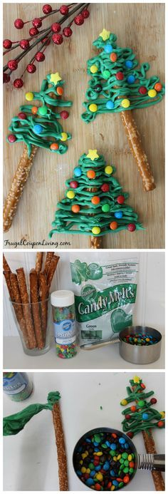 Christmas Trees Chocolate Pretzel Christmas Trees - great for the Holiday Season, found on Frugal Coupon Living.Chocolate Pretzel Christmas Trees - great for the Holiday Season, found on Frugal Coupon Living. Christmas Tree Chocolates, Christmas Pretzels, Christmas Deserts, Noel Christmas, Christmas Goodies, Holiday Desserts, Christmas Candy, Holiday Baking, Holiday Treats