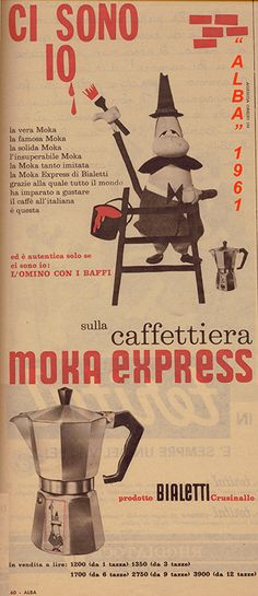 Campagne - Bialetti Vintage Labels, Vintage Ads, Vintage Images, Vintage Italian Posters, Poster Vintage, Moka, Nostalgia, Old Advertisements, Coffee Poster