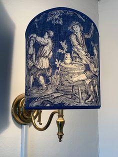 Custom lampshade of Manuel Canovas toile, handmade by our friend Gigi