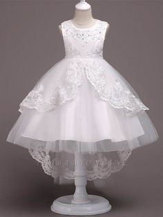 Girls A-Line Sleeveless Pearls Floral Embroidered Communion & Flower Girl Party Dress Tulle Flower Girl, Cheap Flower Girl Dresses, Tulle Flowers, Tulle Lace, Little Girl Dresses, Cute Dresses, Dress Girl, Girls Party Dresses, Short Dresses