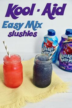 KOOL-Aid Easy Mix Slushies This shop has been compensated by Collective Bias, Inc. and its advertiser. All opinions are mine alone. The countdown to summer has started. My kids are chomping at th… - Fresh Drinks Kid Drinks, Frozen Drinks, Party Drinks, Beverages, Cocktails, Starbucks Kids Drinks, Cool Drinks, Summer Drinks Kids, Kool Aid