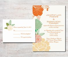 """boho themed peach and sage green floral wedding invitations with free rsvp cards// Use coupon code """"CVB"""" to get 10% off towards all the invitations. #elegantweddinginvites"""