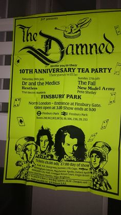 The Damned 10th Anniversary Tea Party 1986 Gigantic Poster 59 inches x 39 3/4 inches Rare Punk Memorabillia by bastarduk on Etsy