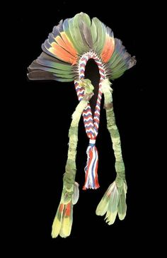 M >>> Paraguay   Feather headdress from the Maka people   20th century   Feathers and cotton fiber.