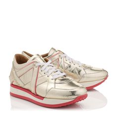 Light Gold Embossed Mirror Leather and Geranium Neon Nappa Mix Trainers   London   Cruise 15   JIMMY CHOO Shoes