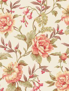 Interior Place - Peach Peony Trail Wallpaper, $28.50 (http://www.interiorplace.com/peach-peony-trail-wallpaper/)