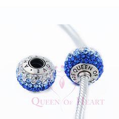 encanta para brazaletes de 925 plata con cristal azules y blancos