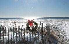 Skiffs of Christmas snow across the beach at Cape May, NJ... - (coastal, nautical, seashore, holiday)