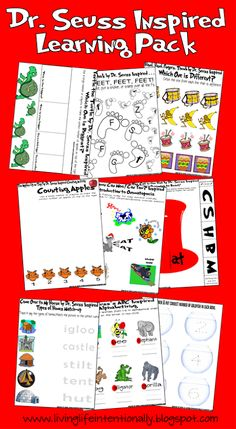 Dr. Seuss Inspired Worksheets.  You will find 30 pages of printables for children. These pages are inspired by the books, but have different clipart. I would suggest picking up the Dr. Seuss book each activity is based on, read it together, and then complete the educational activity. The Picture shows a sample of what's included.