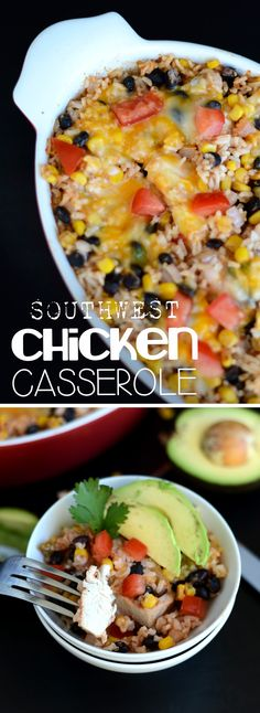 Make this southwestern chicken casserole by throwing all of the ingredients into a dish (uncooked) & baking it in the oven for a healthy, satisfying dinner. Healthy Chicken Casserole, Microwave Chicken Recipes, Shredded Chicken Casserole, Healthy Casserole Recipes, Chicken Soup Recipes, Casserole Dishes, Recipies Healthy, Turkey Recipes, Chicken Marinades