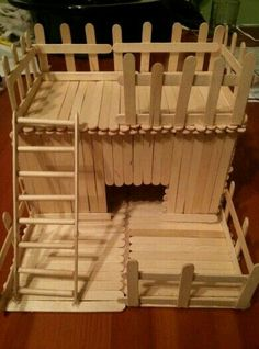 Hamster popsicle house - I could so do this with my kiddo one weekend… Diy Hamster Toys, Gerbil Toys, Hamster Life, Hamster Habitat, Rat Toys, Hamster Cages, Guinea Pig Toys, Hamster Stuff, Guinea Pigs