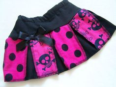 BABY GIRL HOT PINK SKULL & BLACK POLKA DOTS SKIRT GOTH,ROCK,SKATER 3-6 MTH