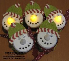 Tealight Snowman Pins by Michelerey - Cards and Paper Crafts at Splitcoaststampers - very easy to do! Christmas Crafts For Kids, Christmas Projects, All Things Christmas, Holiday Crafts, Christmas Holidays, Christmas Gifts, Christmas Decorations, Christmas Ornaments, Tea Light Snowman