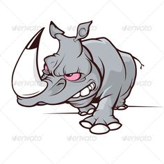 Evil Cartoon Rhino. Fully Editable Vector File