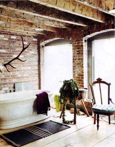 gorgeous bathroom #brick