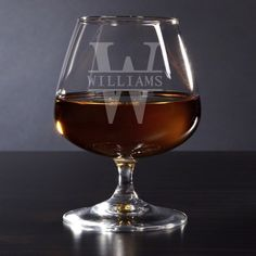 Shop Elegant Oakmont Monogram Glass Brandy Snifter created by HomeWetBar. Best Cognac, Home Wet Bar, Brandy Glass, Gifts For Beer Lovers, Personalized Wine, Drinkware, Barware, Wine Glass, Birthday Gifts
