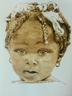 Little Kisha, burning on paper, wood burn, pyrography, art, by WoodBurningbyMarsha on Etsy