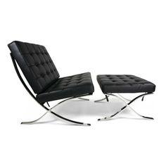 Barcelona Chair Zwart met Ottoman