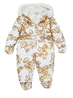 Young Versace Nylon Down Baby Bunting with Rex Fur Jacket | Coat, Jacket and Clothing