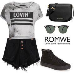 ROMWE denim black shorts