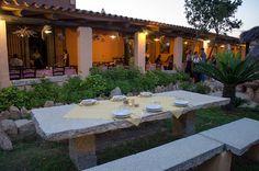 Sardinian restaurant & agriturismo Li Mori (San Teodoro, Sardinia, Italy). Fixed menu, price and time. Antipasti - Fregole - Pasta - Maiale e Insalata - Anguria - Caffè - Seada - Mirto o Limoncello - Crostata