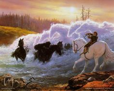 At the Ford by Ted Nasmith... It really peeved me when arwen appeared to save frodo, instead of glorfindel for the movie