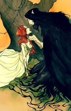 Hades and Persephone IV Art Print by Abigail Larson - I especially love the tendril-root-things creeping off him.