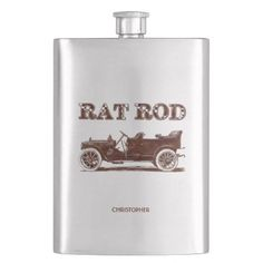 Retro Vintage Rat Rod Old School Cool Rusty Car Hip Flask - decor gifts diy home & living cyo giftidea