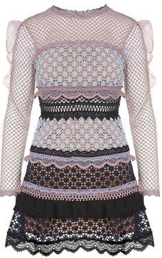 05d566529a96 Self-Portrait Bellis Ruffle-trimmed Guipure Lace Mini Dress Sheer Long  Sleeve Dress,
