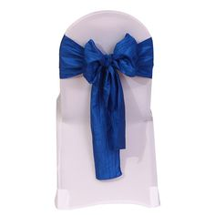 Royal Blue Crinkle Taffeta Chair Sash | Wedding Chair Sashes