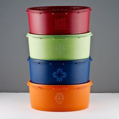 Tupperware Vintage 8pc 8 cup Canister Set. Red, Green, Blue, and Orange - by TheRealmCollectibles