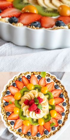 This Beautiful Breakfast Tart has a gluten free granola crust filled with thick Greek yogurt, and topped with a colorful sunburst of fresh juicy fruit. videos recipes breakfast brunch ideas Fruit and Yogurt Breakfast Tart VIDEO! Easy Brunch Recipes, Healthy Brunch, Healthy Dessert Recipes, Breakfast Recipes, Easter Recipes, Brunch Ideas For A Crowd, Healthy Breakfasts, Egg Recipes, Pizza Recipes