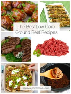 This awesome list of low carb ground beef recipes show you just how versatile this meat can be! They're all keto friendly, too! Beef Recipe Low Carb, Ground Beef Keto Recipes, Best Low Carb Recipes, Low Sugar Recipes, Ground Turkey Recipes, Beef Recipes, Favorite Recipes, Low Carb Ketchup, Low Carb Lasagna