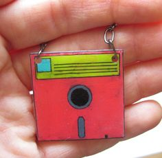 "geekery shrink plastic necklace ""neon floppy disk "" pink yellow Computer disk"