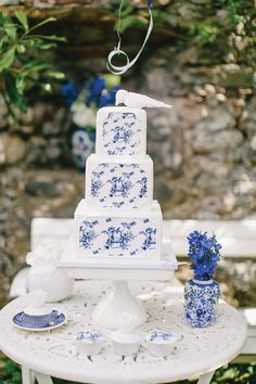 Blue Toile Shoot by Carmen and Ingo Photography Love Birds Wedding, Beautiful Wedding Cakes, Gorgeous Cakes, Pretty Cakes, Blue White Weddings, Blue Wedding, French Wedding, Dream Wedding, Wooden Cake Toppers
