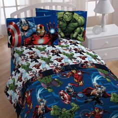 4pc Marvel Avengers Twin Bedding Set Heroic Age Comforter