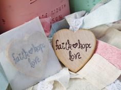 Faith Hope Love Wood Heart Magnet Baptism by AnchoredInFaith, $23.00